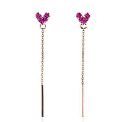 Rose Gold Colour 925 Sterling Silver Crystal Heart Tassel Earrings  For Women