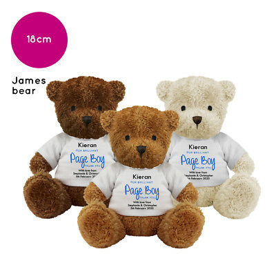 Personalised Name Wedding Soft Toy James Teddy Bear Gift Favour Bride Page Boy