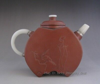 Rare Chinese Hand-Carved Old Yixing Zisha purple Clay jade Teapot