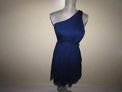 62487e57d8ed1 J. Crew Women's Kylie Chiffon One Shoulder Dress Size 2 Petite Blue 42103  Silk
