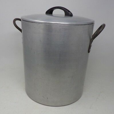 Very Large Vintage Aluminium Cooking Stew Pot Pan With Lid - Catering Camping *