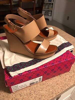 03a8a738a78b Tory Burch Lexington size 9 Tan banded platform sandal shoe 110MM With Dust  Bag