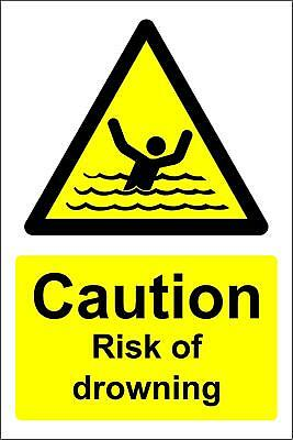 Caution risk of drowning warning Safety sign