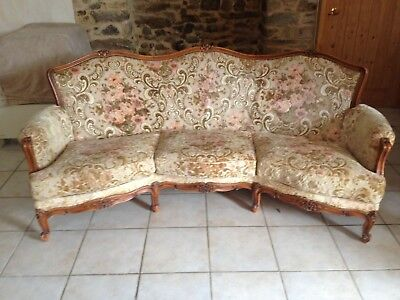 Vintage french settee sofa & chair