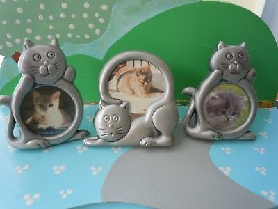Lot Of 3 Mini Pewter Cat Picture Frames
