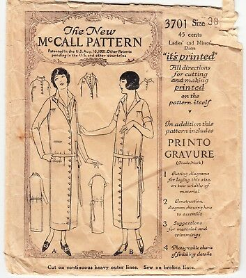"Vintage Sewing Pattern Button Down 1920s Ladies' Dress McCall 3701 38"" Bust"