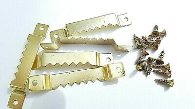 10 Sawtooth Picture Hanger Canvas Frames 63mm Brassed With Screws