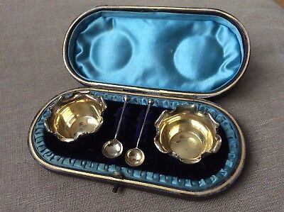 Solid Sterling Silver 1889 Pair Cruets, Mustard, Salts, With Spoons, Boxed