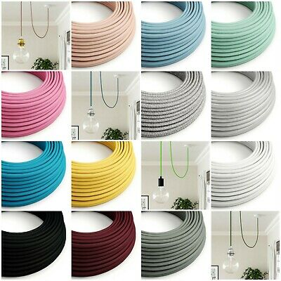 Round Fabric Braided Cable - Coloured Lighting Flex - 3 Core - Italian Vintage