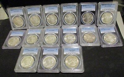 Lot of (15) Morgan Silver Dollars - All PCGS MS63 - See Description for Dates