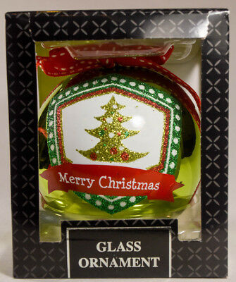 Classic Glass Ball - Merry Christmas Tree - Holiday Ornament