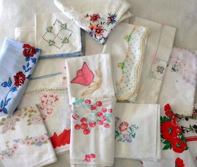 Lot of 15 Vtg Tablecloths Shabby Mid-Century Prints CUTTERS Embroidery Crocheted