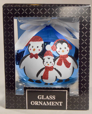 Classic Glass Ball - Three Penguin's - Holiday Ornament