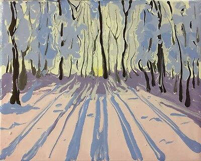 Original Signed Art Painting Abstract Impressionism Landscape Snow Winter Trees