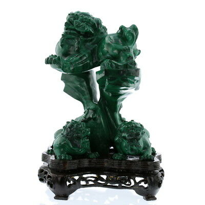 Vintage Hand Carved Natural Malachite 'The Lions' Good Luck Chinese Collection