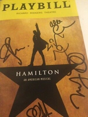 Lin Manuel Miranda's Hamilton Broadway Theater Musical Playbill signed by 2 OBC