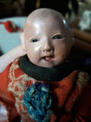 Antique Meiji Rare 19th Century Japanese Ichimatsu Daki Ningyo Boy Doll 5""