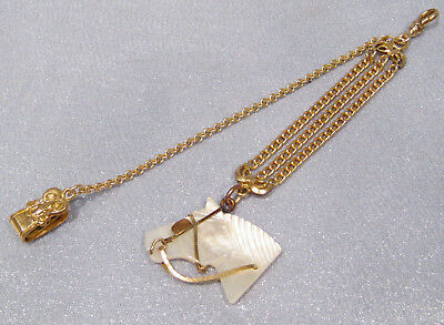 Antique Victorian Rare Mother of Pearl Dbl-Side Horse Head Gold Filled Watch Fob