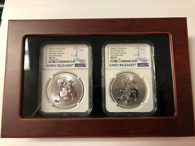 2018 NIUE 1 oz Silver $1 DISNEY SCROOGE McDUCK MONEY BAG NGC  2 coin MS69 & MS70