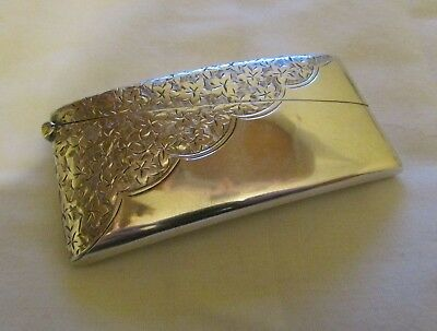 Edwardian Silver Curved Floral Card Case By Smith & Bartlam Chester - 1907