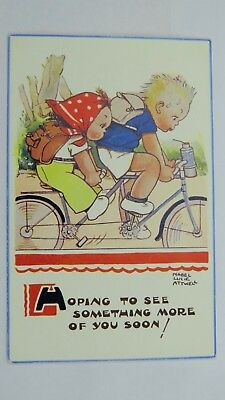 1950s Vintage Mabel Lucie Attwell Comic Postcard Children Cycling Tandem Bicycle