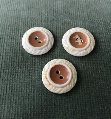Matched Set of 3 Pink/Cream Embossed Early Plastic 2 Hole Buttons 2.3 cm