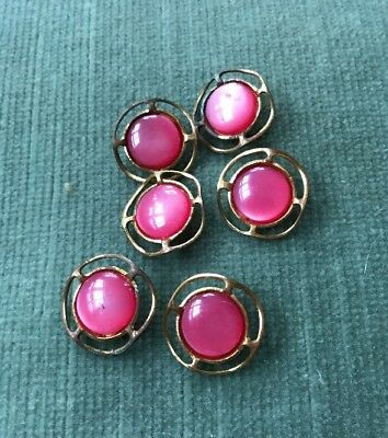 Matched Vintage Set of 6 Brass and Pink Lucite Buttons 1.6 cm