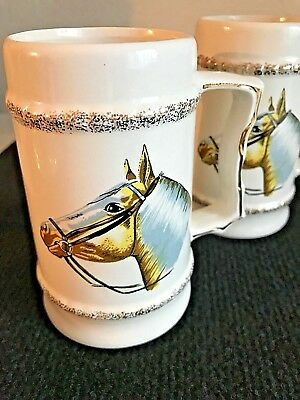 Vintage Pair of Horse Head Painted Collectible Ceramic Mugs w/ Gold Trim~Japan