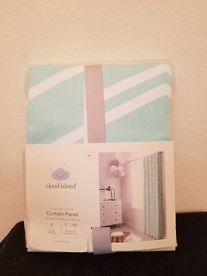 Cloud Island Light Blocking Curtain Panel Aqua White Green Herringbone 42x84