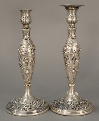 S Kirk & Son Tall Sterling Candlesticks in Repousse