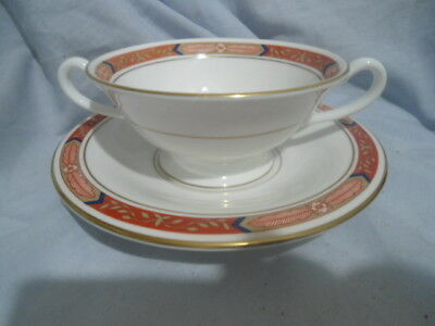Royal Worcester Beaufort Red Two Handled Soup Coupe And Saucer.