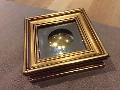 Unique Art Mirror Glass Tile Coaster, Gold Convex Mirror Circle, In Gilded Frame