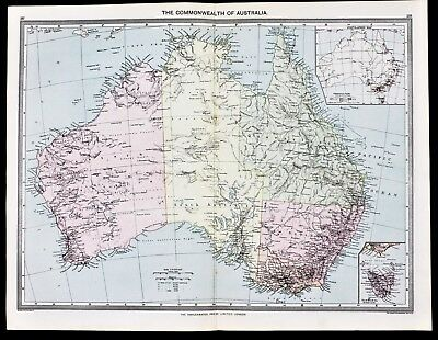 Australia Map 1907 Queensland New South Wales Melbourne Harmsworth LARGE RARE