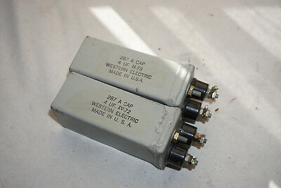 PAIR WESTERN ELECTRIC 287A CONDENSER CAPACITORS 4 uF FOR TUBE AMP