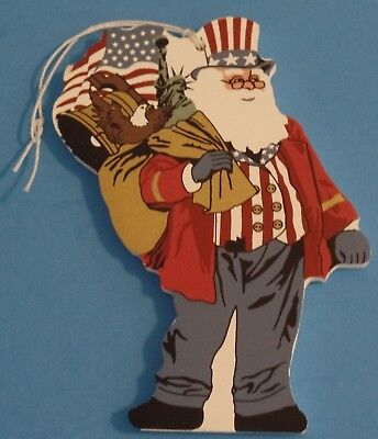 Cat's Meow Village Patriotic Santa 2001 Series Ornament Cats