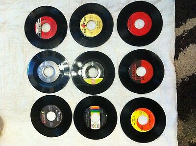 "Awesome Lot Of 9 45 Rpm Records-  Vinyl- Records Jukebox- 7"" 45Rpm"
