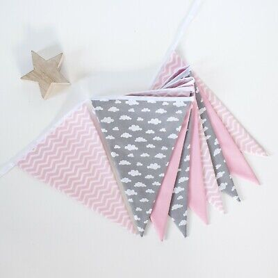 Nursery Bunting Pink Chevron and Grey Cloud Fabric Bunting - 1M