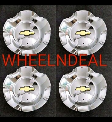 4x CHEVY WHEEL CENTER CAPS SILVERADO TAHOE SUBURBAN AVALANCHE 2007-2013 CHROME