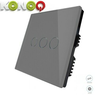 KONOQ+ Luxury Glass Panel Touch LED Light Smart Switch ON/OFF, Grey, 3Gang/2Way