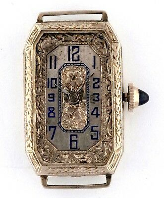 Vintage 1920s 14k White Gold Ladies Fancy Engraved Wrist Watch