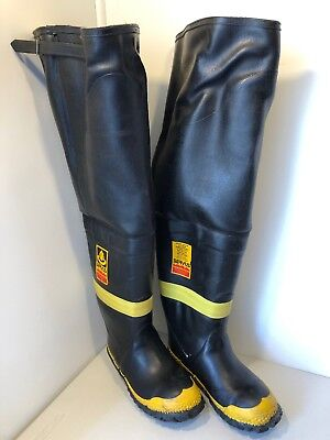 Vintage Servus Firebreaker Rubber Waders Thigh Boots Size 10 1/2 Wide