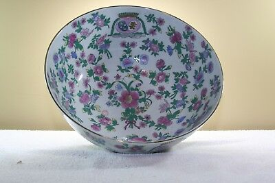 Old Asian Chinese Famille Rose Mille Fleur Large Bowl