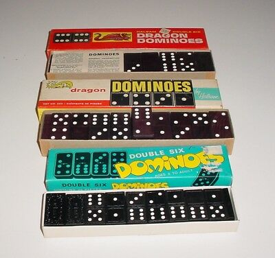 Lot Of Three Vintage Sets Of Double Six Dominoes