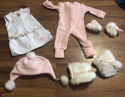American Girl Doll Pink Snowy Chic Winter Outfit Complete Set Hat Dress Boots