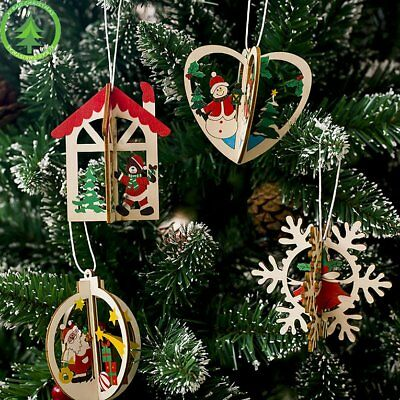 Christmas Decorations Painted Wooden Hanging Ornaments Christmas Tree Pendant KQ
