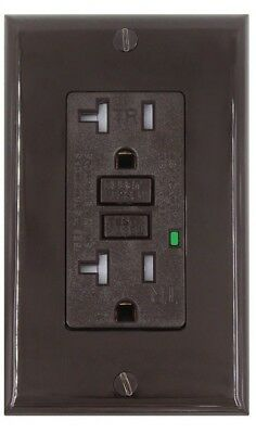 20AMP GFCI Receptacle Outlet - Brown, Tamper Resistant (TR), LED, UL