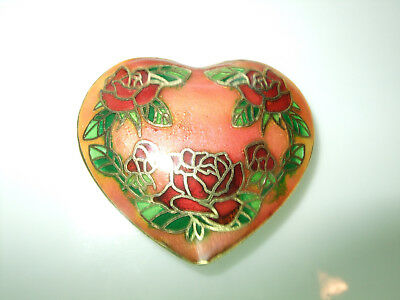 Large Cloisonne Heart Pendant Bead 40Mm Size Multicolor Top To Bottom Drilled