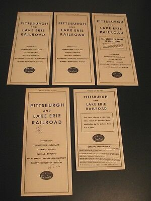 New York Central Pittsburgh And Lake Erie Railroad Timetable Lot Of 5 1960-1967