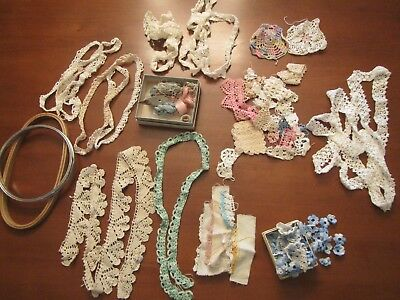 Vintage Lot Of Tatting Shuttle, Threads & Pieces Of Hand Crocheting & Tatting