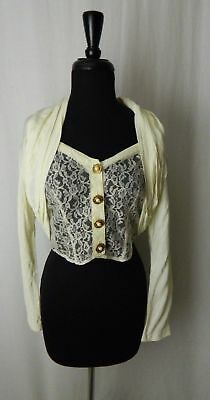Cache Vintage Ivory Off White Lace Floral Cropped Evening Blouse
